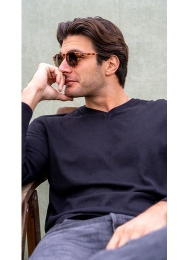 Silk and Cashmere İpek Ve Kaşmir V Yaka Uzun Kollu Utku Erkek Triko Siyah